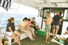 Tourists enjoying lunch onboard