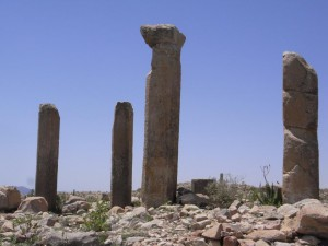 Giant Pillars at the famous Archeological Site of Qohaito